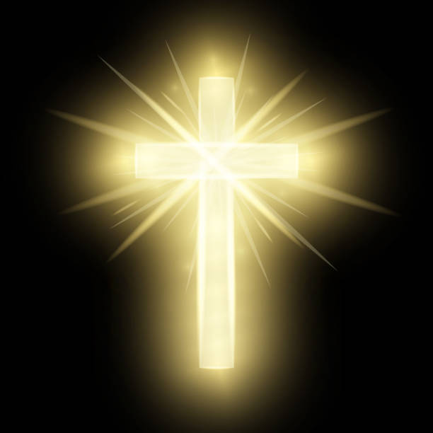 Shining gold cross isolated on black background. Riligious symbol. Glowing Saint cross. Easter and Christmas sign. Heaven concept. Vector illustration vector art illustration