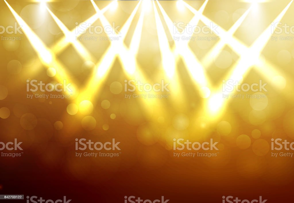 Shining Gold disco spotlights with blured bokeh on dark background. Vector vector art illustration
