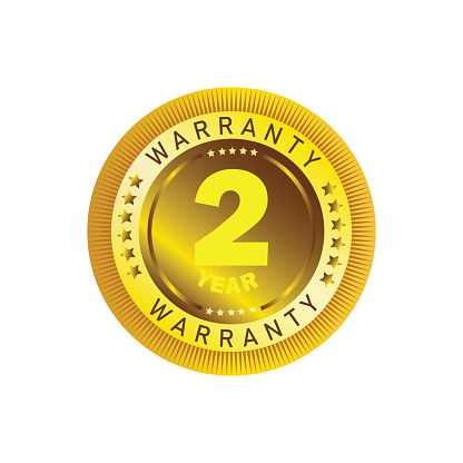 Shining gold vector guarantee sign with 2 year warranty.