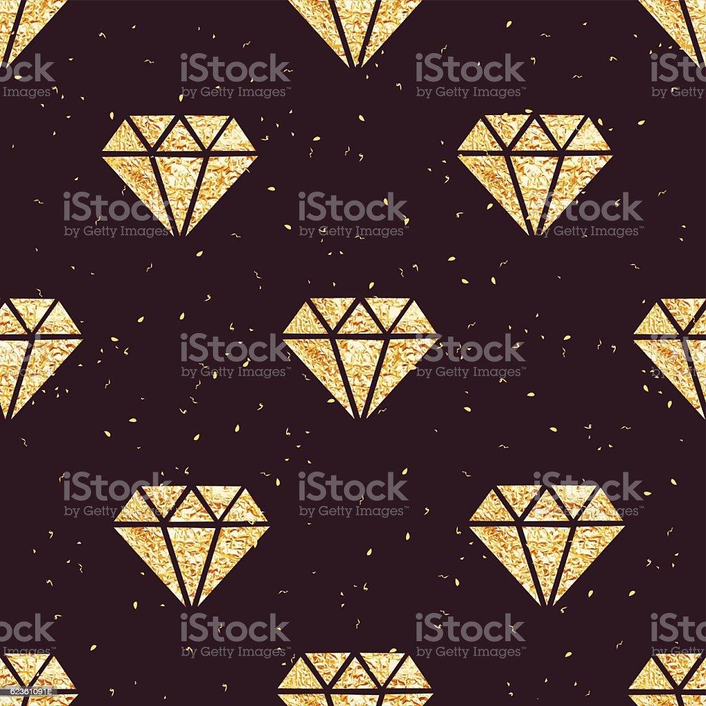 Shining golden foil diamonds seamless vector pattern vector art illustration