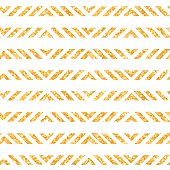 Shining golden glitter stripes on white seamless vector design pattern. Striped sparkling Christmas celebration print.