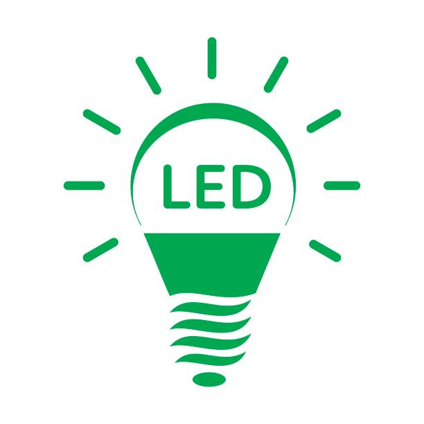 leuchtende led lampe licht-symbol - led stock-grafiken, -clipart, -cartoons und -symbole