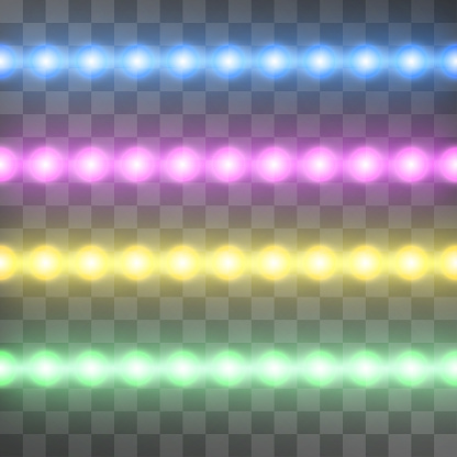 Shining led vector stripes on transparent background, set of pink, blue, green, yellow glowing decorative tapes of diode ecological lamps light effect illustration for banners, posters, web-sites.