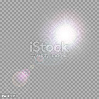 Multicolored exploding star with bright highlights on a transparent background
