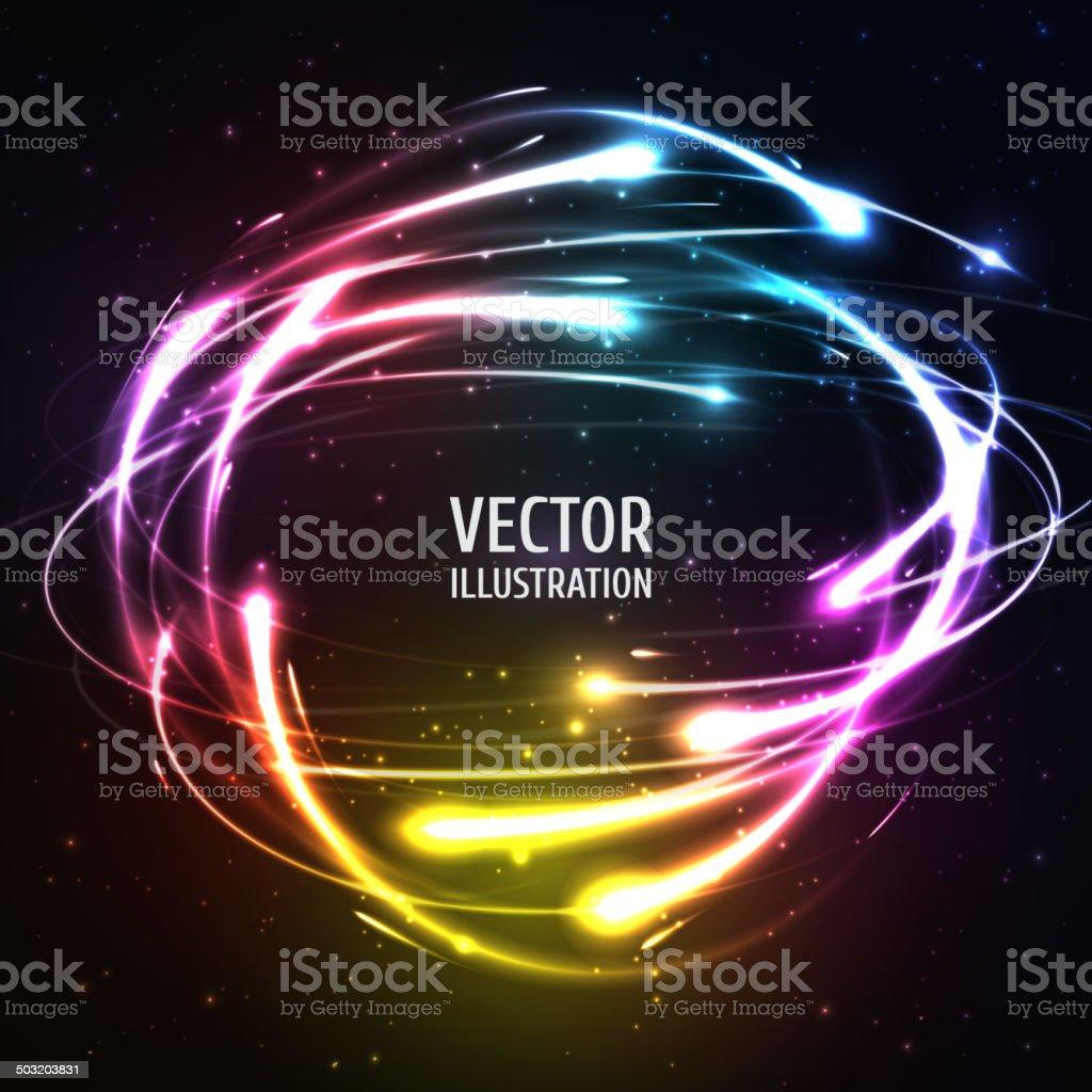 Leuchtende Neon Lights wie Meteors in-Bereich.  Vektor-Illustration für – Vektorgrafik