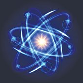 Vector atom icon. Shining nuclear atom model