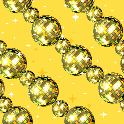 Shining pattern of gold beads. Glowing background, retro style