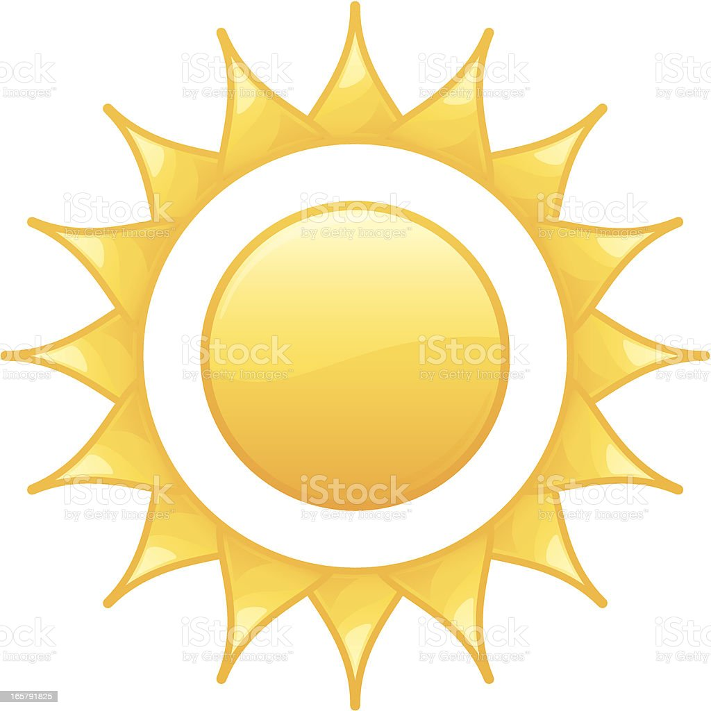 Shining Radiant Yellow Summer Sun Vector Illustration royalty-free stock vector art