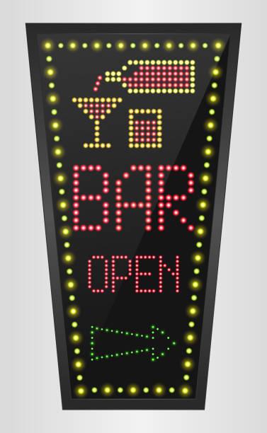 illustrations, cliparts, dessins animés et icônes de lumière qui brille au style rétro bleu fond bannière bar ouvert - enluminure bordure