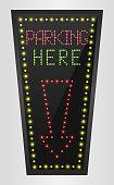 Illustration of Shining retro light banner parking here on a black background