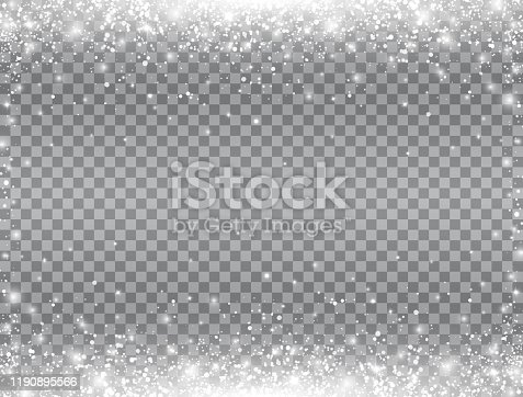 Shining snow border. Snow falling on transparent background. Merry Christmas card. Magic snowfall. Winter design elements for card, poster, web banner. Vector illustration.