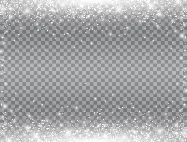 ilustrações de stock, clip art, desenhos animados e ícones de shining snow border. snow falling on transparent background. merry christmas card. magic snowfall. winter design elements for card, poster, web banner. vector illustration - geada