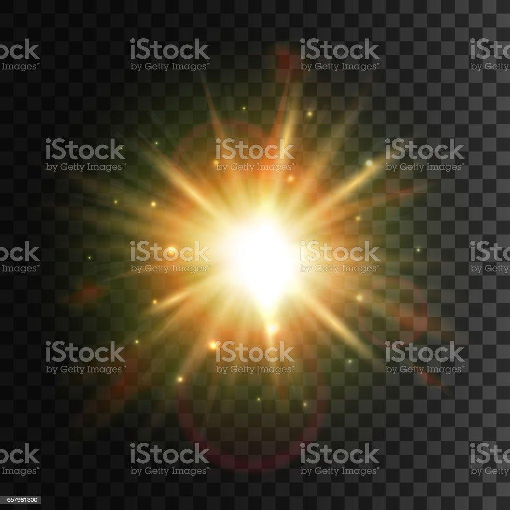 Shining star. Bright sun light lens flare effect vector art illustration