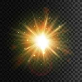 Shining star. Bright sun light lens flare effect