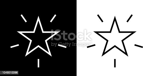 Shining Star Icon. This royalty free vector illustration features the main icon on both white and black backgrounds. The image is black and white and had the background rendered with the main icon. The illustration is simple yet very conceptual.