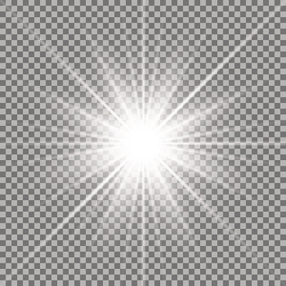Shining star on transparent background