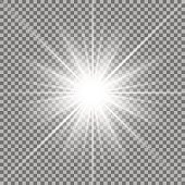 Shining star on transparent background