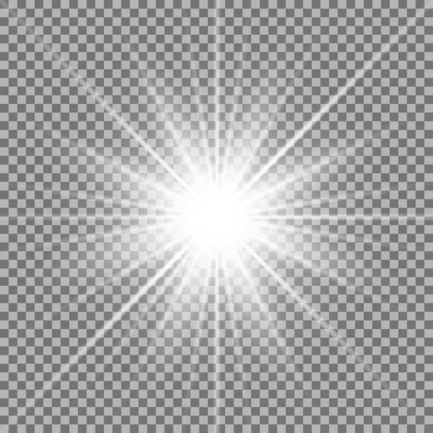 shining star on transparent background - promień słońca stock illustrations