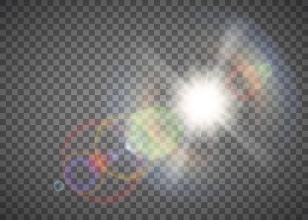 illustrazioni stock, clip art, cartoni animati e icone di tendenza di shining sun. light effect pattern isolated on a transparent background - aureola