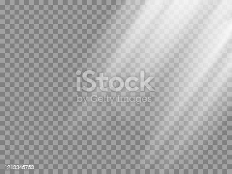istock Shining sun rays vector illustration. Sunlight glowing png, eps, ai, svg effect. White beam sunrays sky background 1213345753