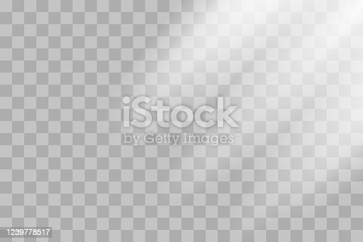 istock Shining sun rays vector illustration. Sunlight glowing png, eps, ai, svg effect. White beam sunrays sky background 1239778517
