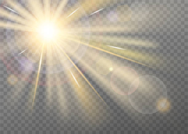 Shining sunlight blurred vector effect Shining sunlight blurred vector effect on transparent background. Front light warm radiance with lens glare, with radial purple halo and straight yellow stellar rays. Searchlight or spotlight decor heaven stock illustrations