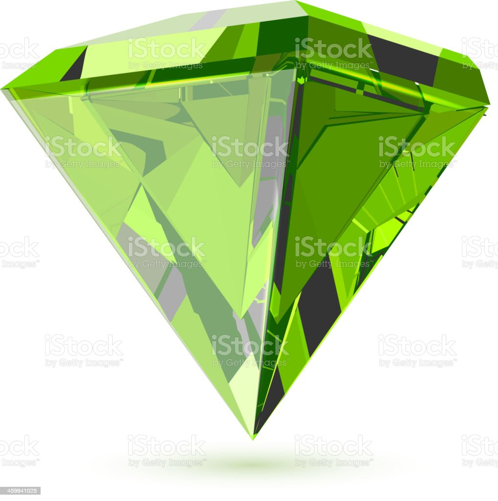 Shining transparent diamond isolated on white. vector art illustration