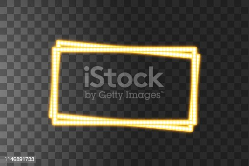 Shining yellow led vector rectangle frames, neon illumination on transparent background. Glowing decorative rectangle tapes of diode ecological lamps light effect for banners, web-sites.