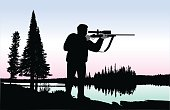 A vector silhouette illustration of a young man aiming a rifle while standing by a lake surrounded by pine trees.