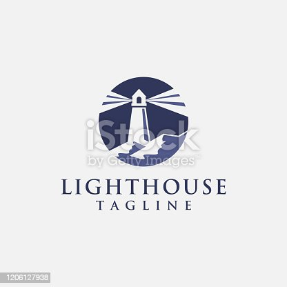 Shinning lighthouse icon vector, lead the way, share and social
