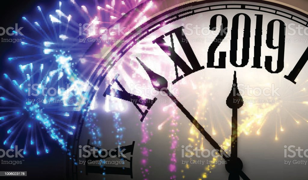 shiny 2019 new year background with clock and fireworks royalty free shiny 2019 new