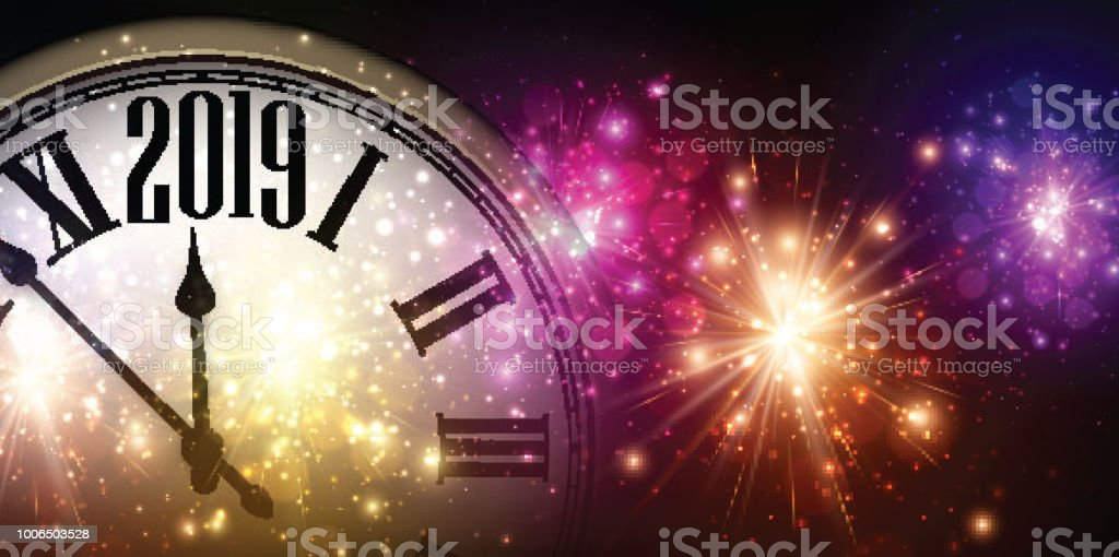 Shiny 2019 New Year background with clock and fireworks. vector art illustration