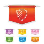 Shiny 3D Fold Over Ribbon Bookmark With Auto Insurance Icon