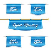 Shiny 3D Folded Ribbon Bookmark With Cyber Monday Text
