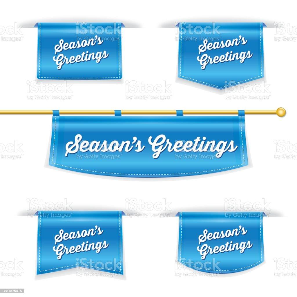 shiny 3d folded ribbon bookmark with seasons greetings text stock
