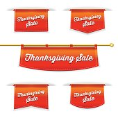 Shiny 3D Folded Ribbon Bookmark With Thanksgiving Sale Text