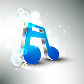 Shiny musical note in silver and blue color on stylish background.