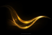 Shiny abstract gold stripe on dark background, golden moving wave with glow and glitter effect, vector illustration