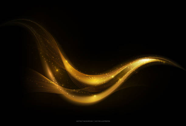 Shiny abstract gold stripe on dark background, vector illustration vector art illustration