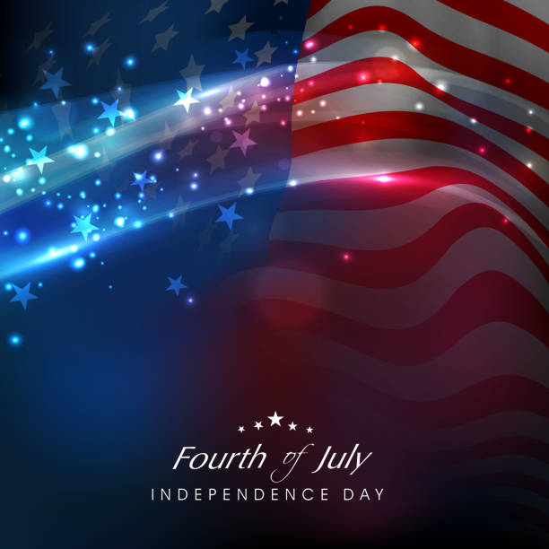 Shiny American flag waving for 4th July celebrations. Fourth of July Independence day celebrations with shiny American flag waving background. independence day holiday stock illustrations