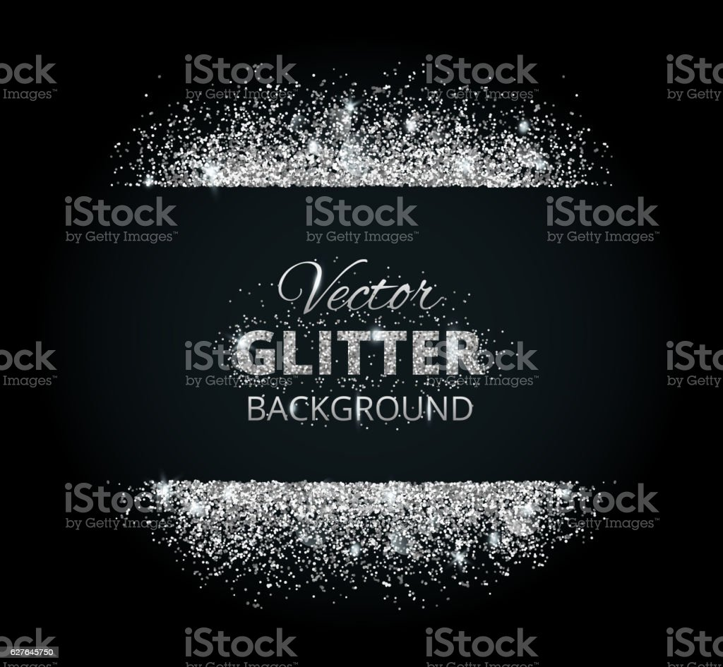 Shiny background with silver glitter frame and space for text vector art illustration