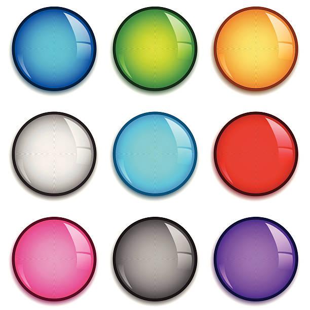 illustrazioni stock, clip art, cartoni animati e icone di tendenza di stemma lucido set - sfera lucida