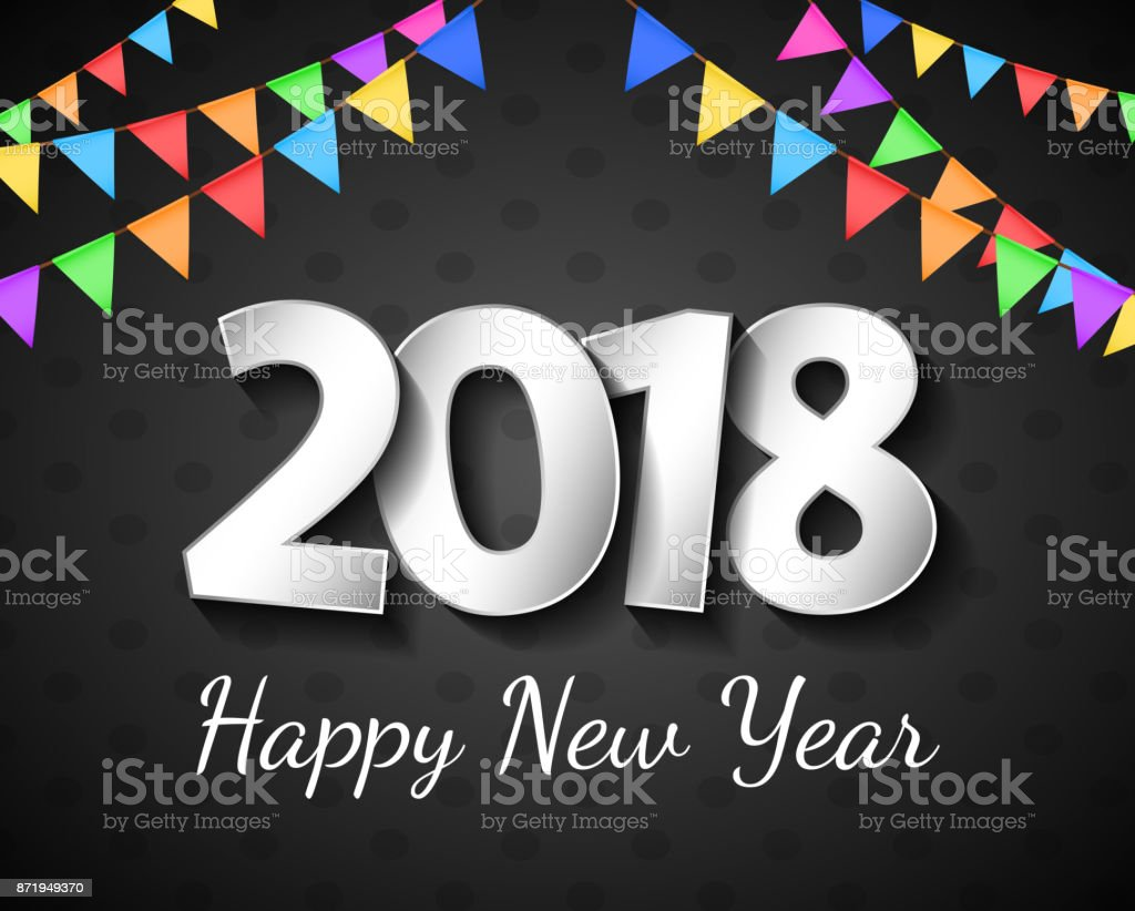 Shiny Banner With Greetings For Happy New Year 2018 Vector Stock
