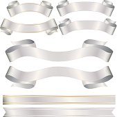 Set of 8 shiny banners, ribbons, stickers - shiny silver metallic satin with OPTIONAL gold trim. Copy space.