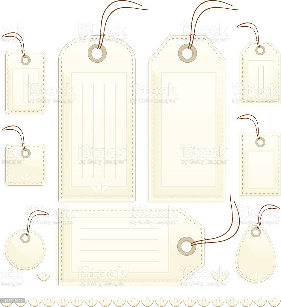 Shiny Beige Stitched Gift, Price or Luggage Tags, Labels royalty-free stock vector art
