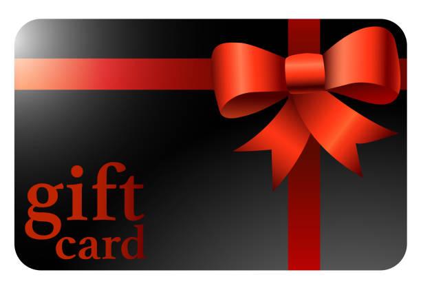 illustrazioni stock, clip art, cartoni animati e icone di tendenza di shiny black gift card with red ribbon - coupon