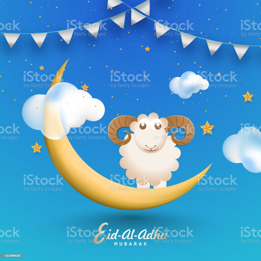 Shiny blue eidaladha mubarak greeting card design decorated with shiny blue eid al adha mubarak greeting card design decorated with bunting flag m4hsunfo