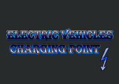 Shiny blue electric vehicles charging point text like neon