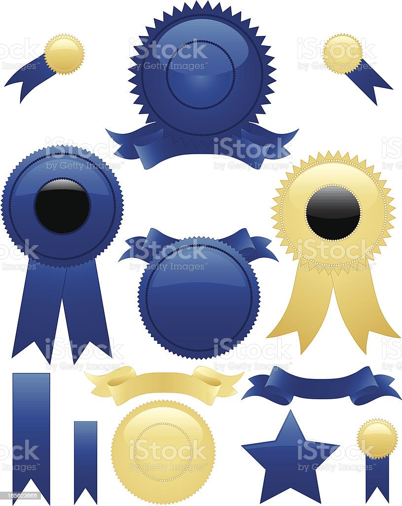 Shiny Blue or Gold Round Seals, Stickers Set, Optional Ribbons royalty-free stock vector art