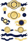 Shiny blue satin, gold metallic seals, stickers, medals, ribbons, banners. Mix layers.